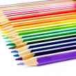 Stock Photo: Colour pencils set on white background close up