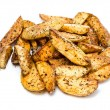 French fries potato wedges in country styled on white background — Stock Photo