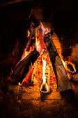 Home Firewood burning in brick fireplace. — Stock Photo