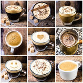 Coffee collage with Coffee espresso, cappuccino, latte and mocha. — Stock Photo