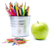 Photo of office and student gear with Color pencils in aluminum — Stock Photo