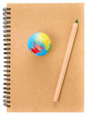 School Globe and recycle craft notebook on white background. — Stock Photo