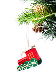 Christmas colorful small train on fir branches with snow decorations — Stock Photo