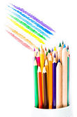 Close up of color pencils on white background — Stock Photo