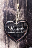 Heart shaped decor sign desk Home country style on dark wooden — Stock Photo