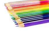 Colour pencils set on white background close up — Stock Photo