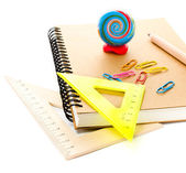 Back to school supplies with notebook and pencils. — Stock Photo