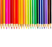 Colored pencils rainbow on white background close up — Stock Photo