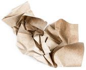 Beyaz zemin üzerine bej doğal buruşuk vintage kağıt geri dönüşüm — Stok fotoğraf
