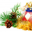 Christmas ball on fir branches with decorations on white backgro — Stockfoto