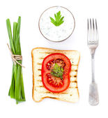 Toast bread, tomato and herbs, isolated on white background, clo — Stock Photo