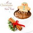 Christmas card with Gingerbread Man and hot chocolate — Stock Photo