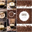 Espresso, cappuccino, mocha and Coffee beans — Stock Photo