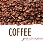 rand av rostade kaffebönor isolerad på vit — Stockfoto