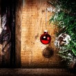 Christmas greeting card with Christmas Decorations — ストック写真