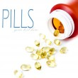 Medication pills spilling out of pill bottle — Stock Photo #31299741