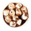Stock Photo: Hot chocolate with mini marshmallow and cinnamon in white cup