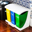 Colorful Recycle Cans on the kitchen — Stock Photo