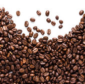 Coffee beans isolated on white background with copyspace — Stock Photo