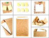 Business collage with recycled paper letter envelope, sticky notes and crumpled craft paper — Stock Photo
