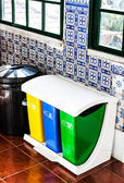 Colorful Recycle Bins on the kitchen — Stock Photo