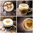 Coffee espresso, cappuccino, latte and mocha — Photo