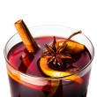 Red wine with orange slice — Stock Photo
