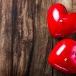 Valentines Day background with two Red Hearts  — Stock Photo