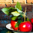 Red Big Apples with green leaves — Stock Photo