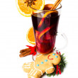 Cup of Hot red mulled wine — Stock Photo