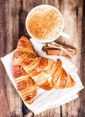 Breakfast with French Croissants and Coffee — Stock Photo