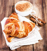 Fresh Croissants and Coffee — Stock Photo