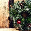 Bright christmas composition with Christmas wreath — Stock Photo