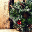Bright christmas composition with Christmas wreath — Foto Stock