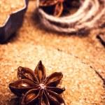 Cinnamon sticks and star anise on brown sugar macro — Stock Photo