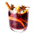 Hot red mulled wine isolated on white background — Stock Photo