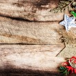 Christmas decorations on wooden old table. — Stock Photo