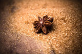 Anise star on brown cane sugar on wooden background — Stock Photo