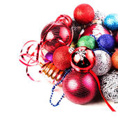 Christmas card with pile of Christmas balls and decorations. — Stock Photo