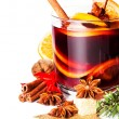 Glass with Hot red mulled wine for winter — Stock Photo