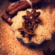 Cinnamon sticks, nuts and star anise on brown sugar, macro. — Stock Photo