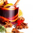 Christmas Hot mulled wine for winter with spices — Stock Photo