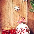 Red gift box and white ball — Foto de Stock