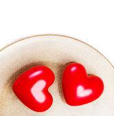 Dos grandes corazones rojos — Foto de Stock
