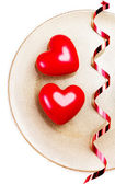 Two Big Red hearts — Stock Photo
