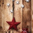 Christmas background with red star and snowflakes — Stock Photo #38706261