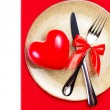 Valentines Day background with hearts on a golden plate — Stock Photo