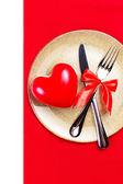 Walentynki tło z serca na złotej płyty — Zdjęcie stockowe