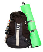 Large touristic backpack with lightweight foam mat — 图库照片
