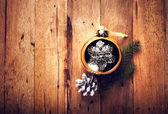 Vintage Christmas decorations on wooden background — Stock Photo